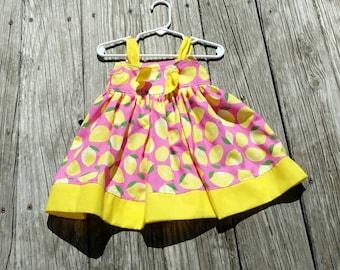 65efba36f Pink Lemonade Dress - Spring Dress - Lemon Dress - Lemons - Birthday Dress  - Toddler Dress - Sundress - Beach Dress - Groovy Gurlz