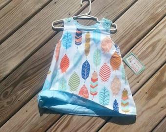 Shift Dress - A Line Dress -  Feather Dress - Toddler Dress -  Birthday Dress - Shift Dress - Reversible Dress - Groovy Gurlz
