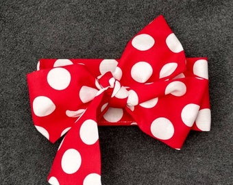Messy Bun Wrap - Fabric Head Wrap - Big Bow Head - Red Polka Dot - Head Wrap - Messy Bow - Toddler Headband -  Head Wrap - Groovy Gurlz