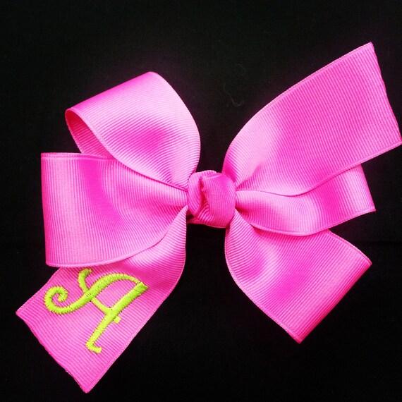 Hot Pink Monogram Infant Hair Bow