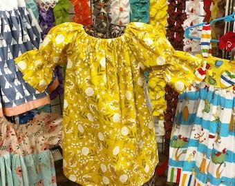 Girls Mustard Dress - Birthday Dress - Peasant Dress - 3/4 sleeve dress - Groovy Gurlz