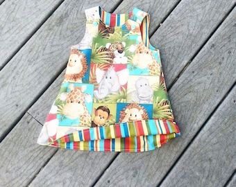 Girls Spring Dress - Girls 1st Birthday - Jungle Animal Dress - Toddler Girl Dress - Groovy Gurlz