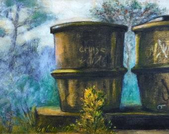 Water Tower Art, Concrete in Woods, original drawing, rustic wood frame, Florida Panhandle, Dunes, Graffiti paint, Beach cabin, pine wood