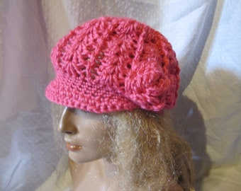Hat Womans Mauve Crochet Hat with Pink Loopy Flower Applique Stylish Trendy and Lacy Cap Handmade Fashion Accessory Chic