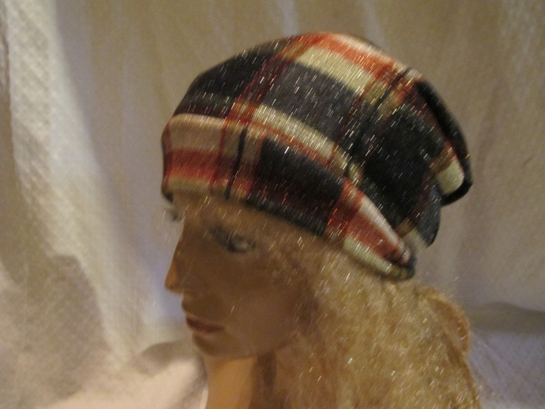 Slouchy Beanie Fabric Hat Unisex Slouchy Beanie Plaid Sparkle Banded Slouchy Beanie Unisex Slouchy Hat Fabric Slouch Hat SALE