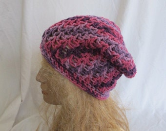 SALE - Pink Color Mix Slouchy Beanie, Slouch Beanie, Slouchy Hat, Slouch Hat, Crochet Slouch Hat, Crochet Slouchy Beanie, Winter Slouch Hat