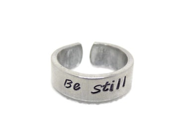Be Still Ring Handstamped