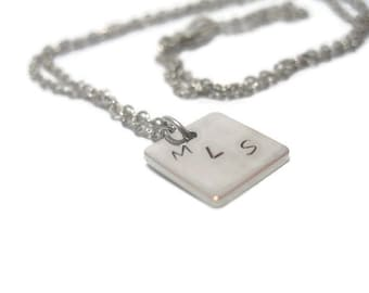 Initials Hand Stamped Customizable Metal Necklace