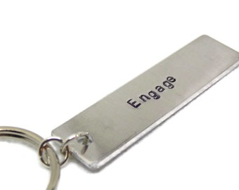 Engage Hand Stamped Aluminum Keychain