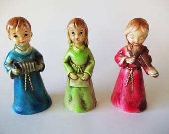 Paper Mache Angels, Mid-Century Christmas Figurines, Holiday Decorations Singing & Instruments, Set of 3, Japan 1960s