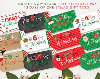 12 days of christmas printable gift tags twelve days of christmas editable instant download pdf file