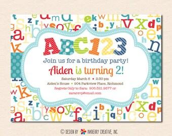 Alphabet Invitation Etsy
