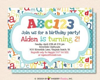 Abc Invitation Etsy