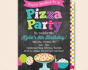 pizza party invite etsy