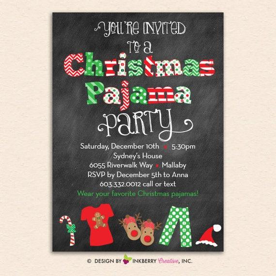 Christmas Pajama Party Chalkboard Christmas Holiday Party