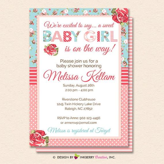 Shabby Chic Baby Shower Invitation Shabby Chic Shower Invite