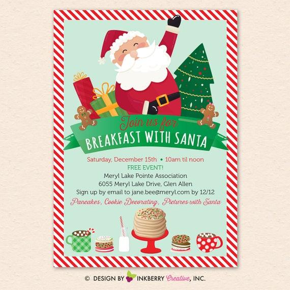 breakfast with santa christmas holiday party invitation kids