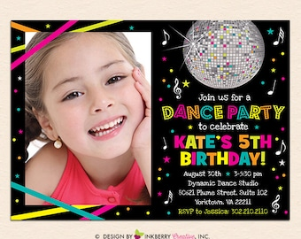 Neon Dance Party Birthday Party Photo Invitation (Digital File - Printed Cards Also Available)
