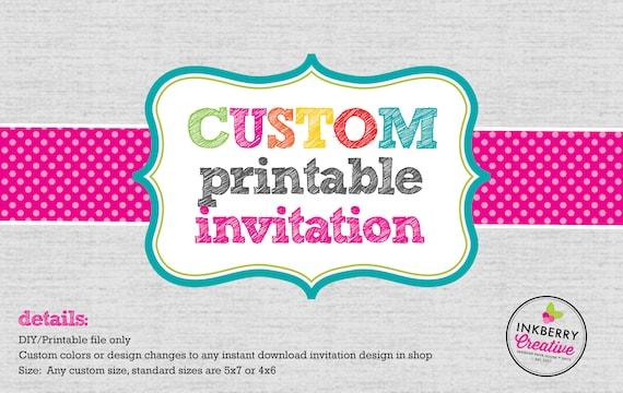 Custom Printable Invitation Design Diy Digital Printable Etsy