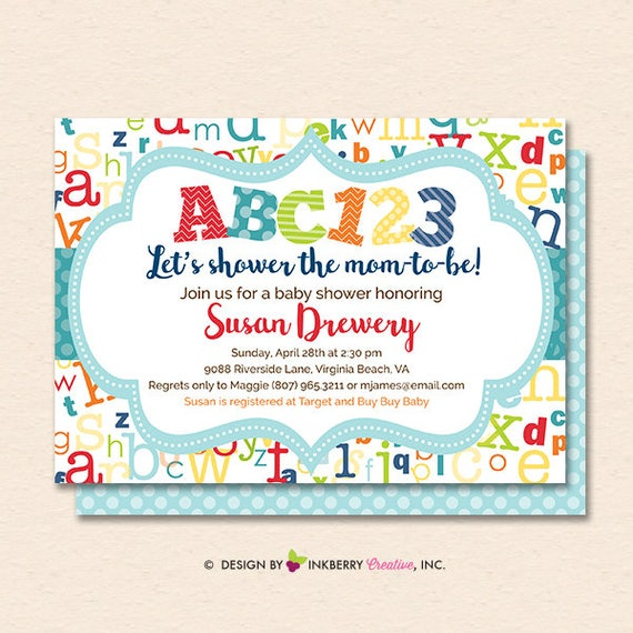 Alphabet Baby Shower Invitation Alphabet Baby Shower Invite Abc