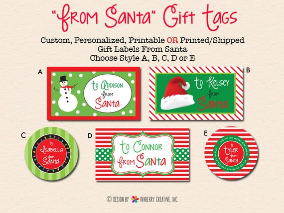 Personalized Christmas Gift Labels From Santa DIY/Digital | Etsy
