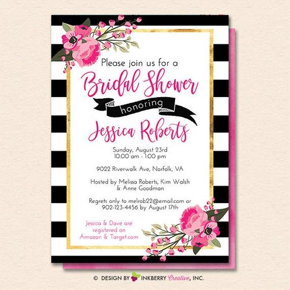 a6d62e5d431e3 Bridal Shower Invitation - Black White Striped, Gold, Floral Bridal ...
