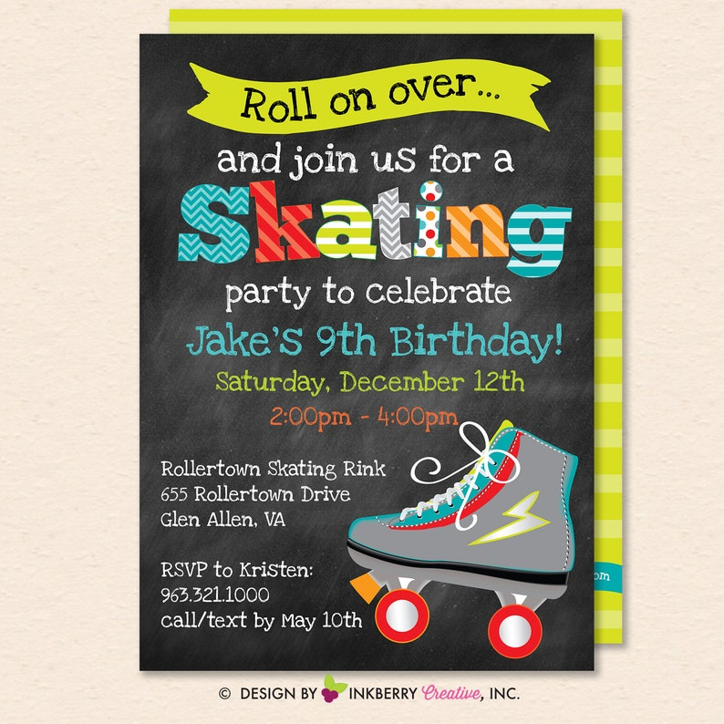 picture about Free Printable Roller Skating Birthday Party Invitations identified as Roller Skating Birthday Bash Invitation - Boys Roller Skate Occasion Invite - Boy Lady Skating - Printable, Fast Down load, Editable, PDF