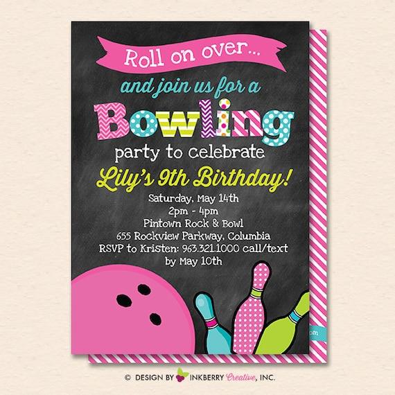 bowling invitation bowling invite girls bowling party bowling