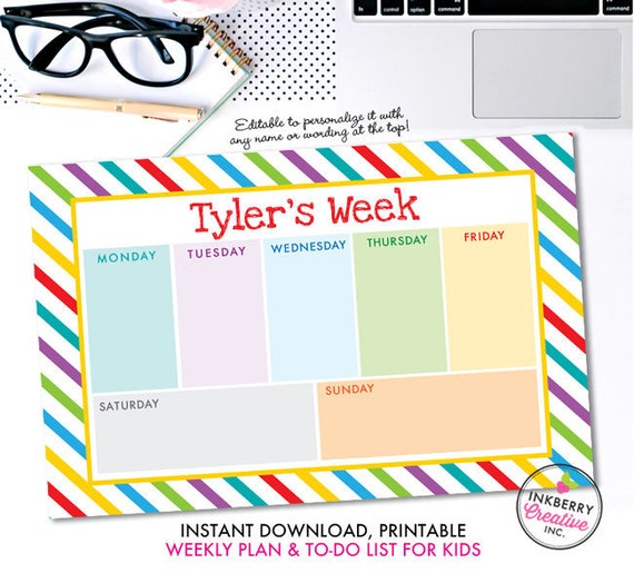 printable kids weekly planner and to do list instant download pdf
