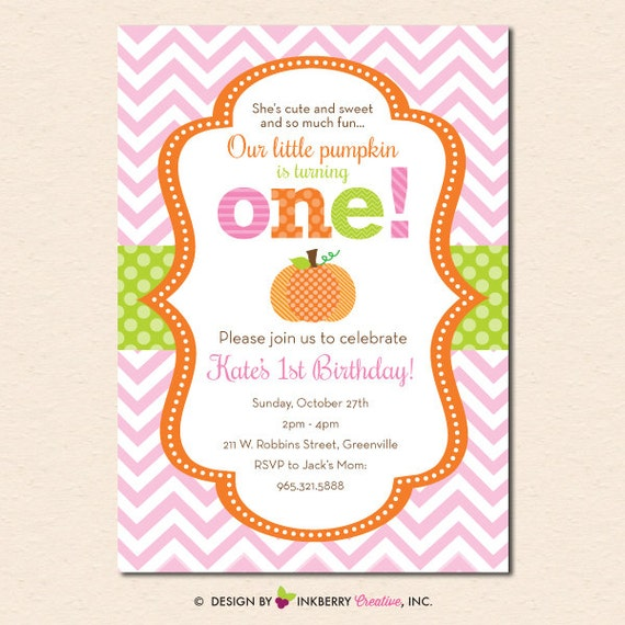 Little Pumpkin Chevron First Birthday Invitation Digital File OR Printed Cardstock Cards Also Available
