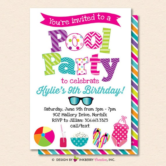 Pool Party Invitation - Summer Pool Party - Pool Birthday