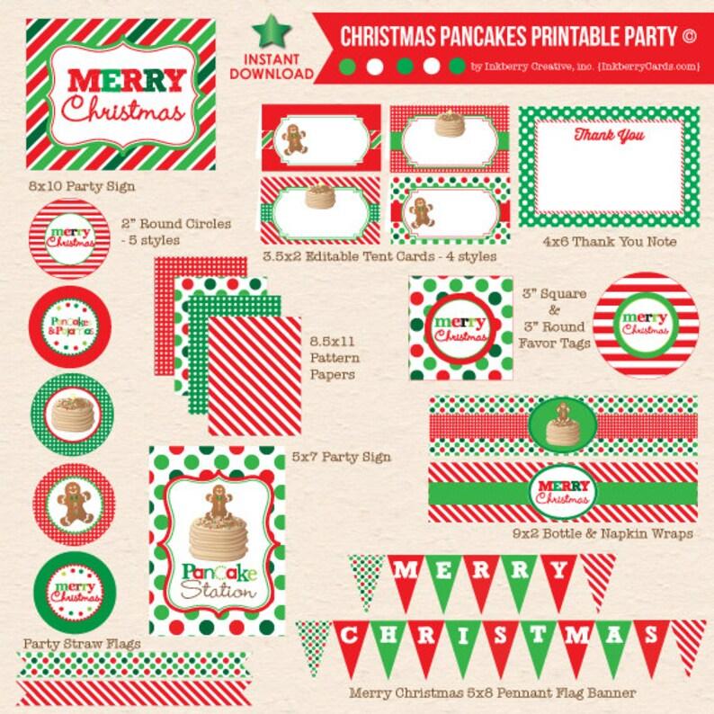 INSTANT DOWNLOAD Christmas Pancakes & Pajamas Party  image 1