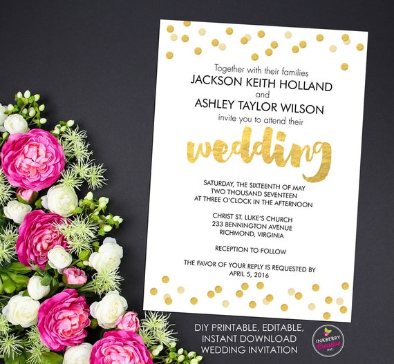 Print Your Own Wedding Invitation: Gold Confetti Printable Wedding Invitation