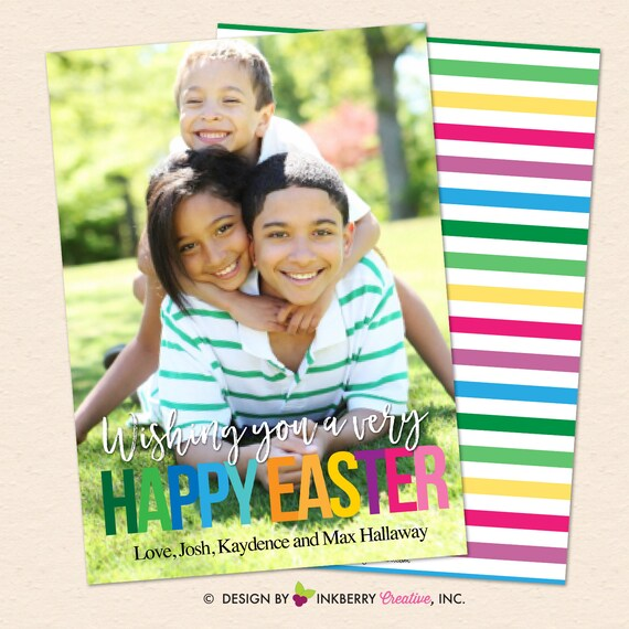 Colorful Letters and Stripes -Easter Photo Card - Custom Design - We