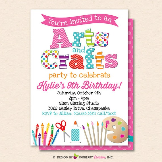 image about Printable Arts and Crafts titled Arts and Crafts Birthday Social gathering Invitation - Youngsters Arts Crafts