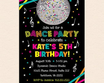 Neon Dance Party Birthday Party Invitation (Digital File - Printed Cards Also Available) - Neon, Glow, Just Dance, Party, Disco Ball, Music