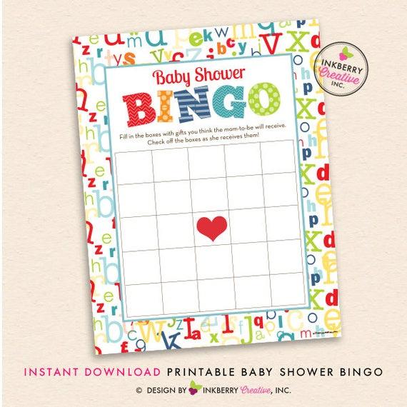 photograph regarding Abc Bingo Printable titled Alphabet Kid Shower Printable BINGO Sport - Alphabet Concept