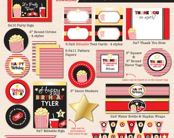 Movies & Popcorn Birthday Party - Complete Printable Party Pack - INSTANT DOWNLOAD!