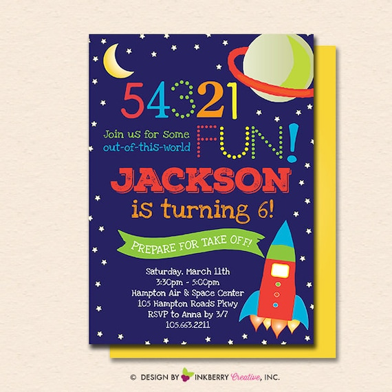 Outer Space Invitation Outer Space Invite Space Invitation