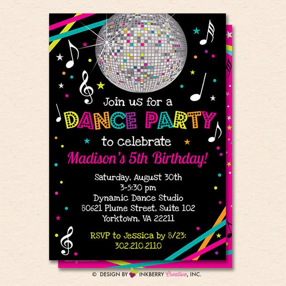 dance party invitation dance party invite neon glow dance party