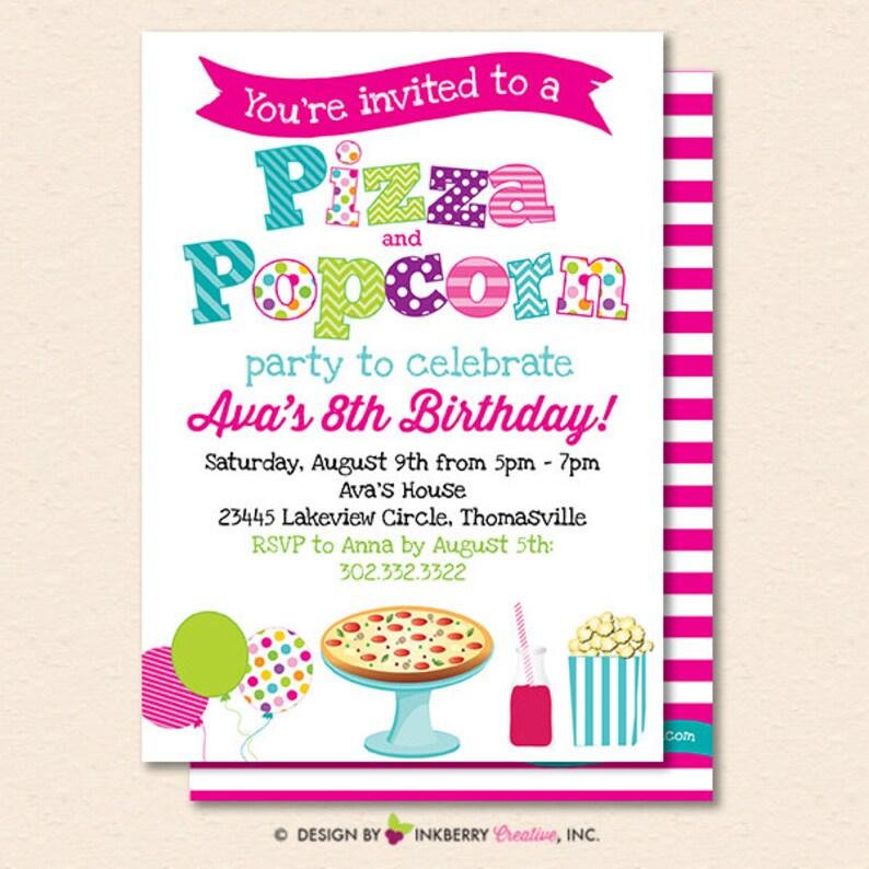 Pizza And Popcorn Party Invitation Pizza Party Invite Etsy