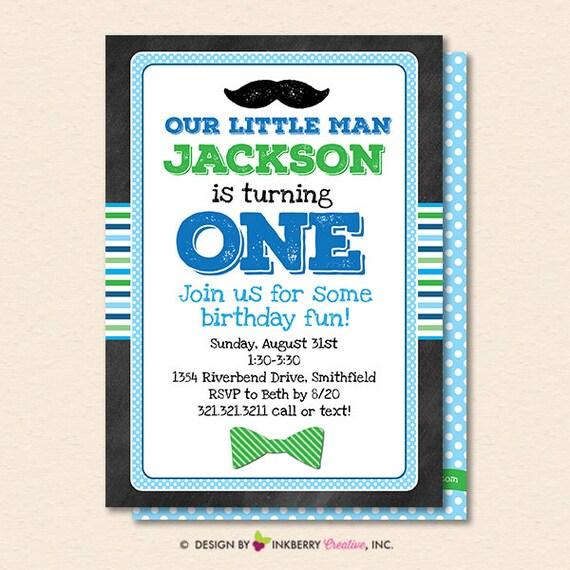 Little Man Bowtie Mustache Birthday Party Invitation Boy S