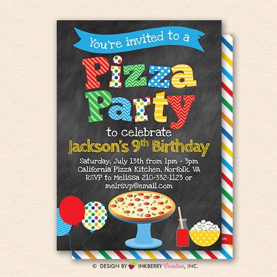 Pizza Party Invitation Invite Chalkboard