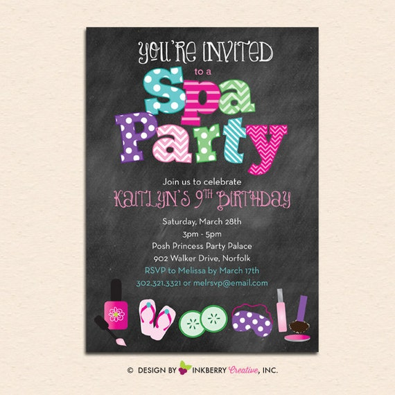 Spa Party Chalkboard Style Invitation With Nail Polish Spa Mask And