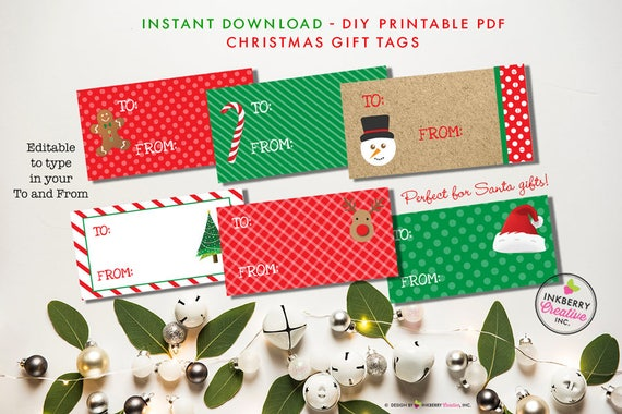 from santa gift stickers tags printable christmas gift tags