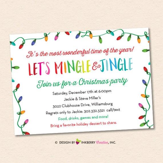 Christmas Party Invitation Christmas Lights Mingle Jingle