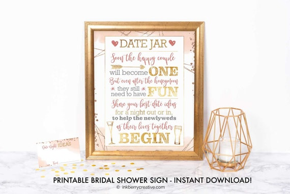 Printable Date Night Jar Sign Bubbles Brews Bridal Couples Shower Printable Games Decor 8x10 Instant Download Diy Digital File By Inkberry Cards Design Catch My Party