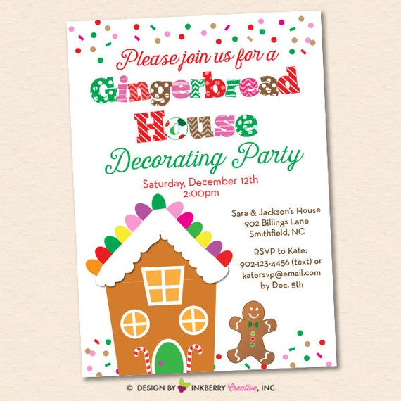 picture regarding Printable Cardstock Invitations named Xmas Gingerbread Place Decorating Social gathering Invitation