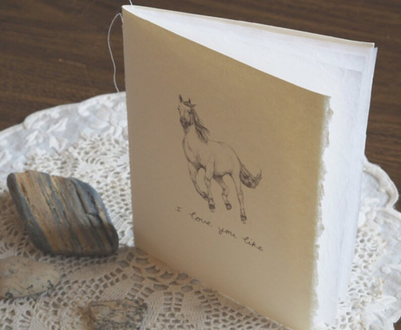 Beautiful horse greeting card made of recycled cotton paper and paper tissue pages Run free