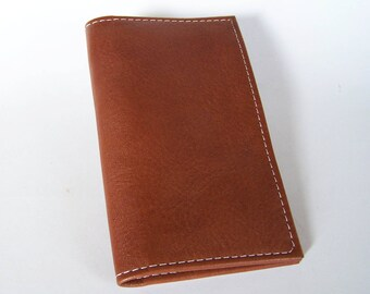 Tan Leather Checkbook Cover - Leather Checkbook Holder